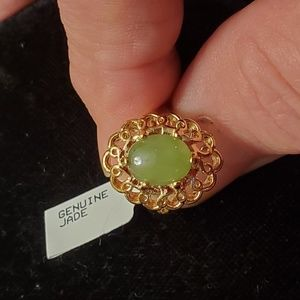 Genuine Jade H.G 14K Gold Electo-plate ring SZ 6